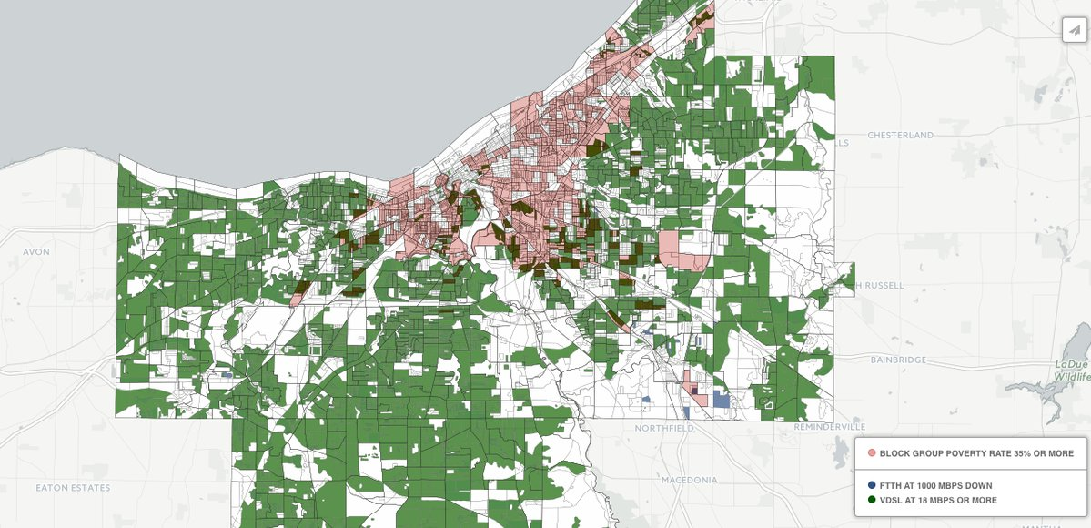 A map of Cleveland neighborhoods, showing the disconnect between quality broadband and low incomes