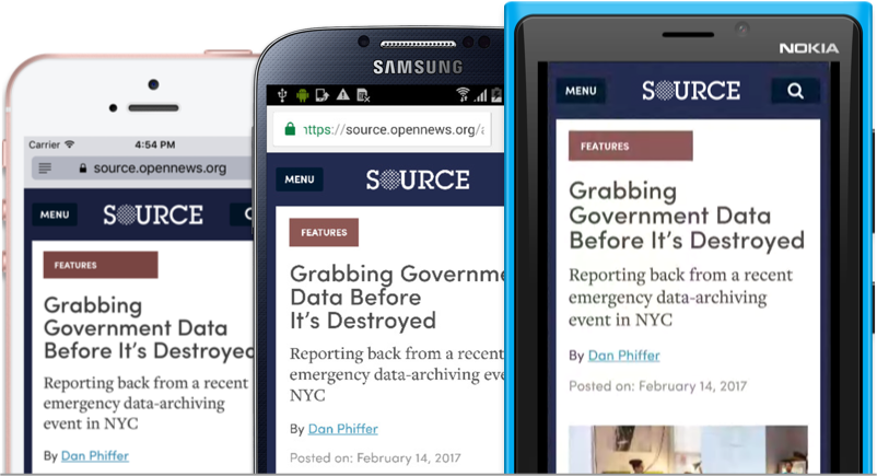Screenshots of an article on the new Source website, as shown on three different mobile phones
