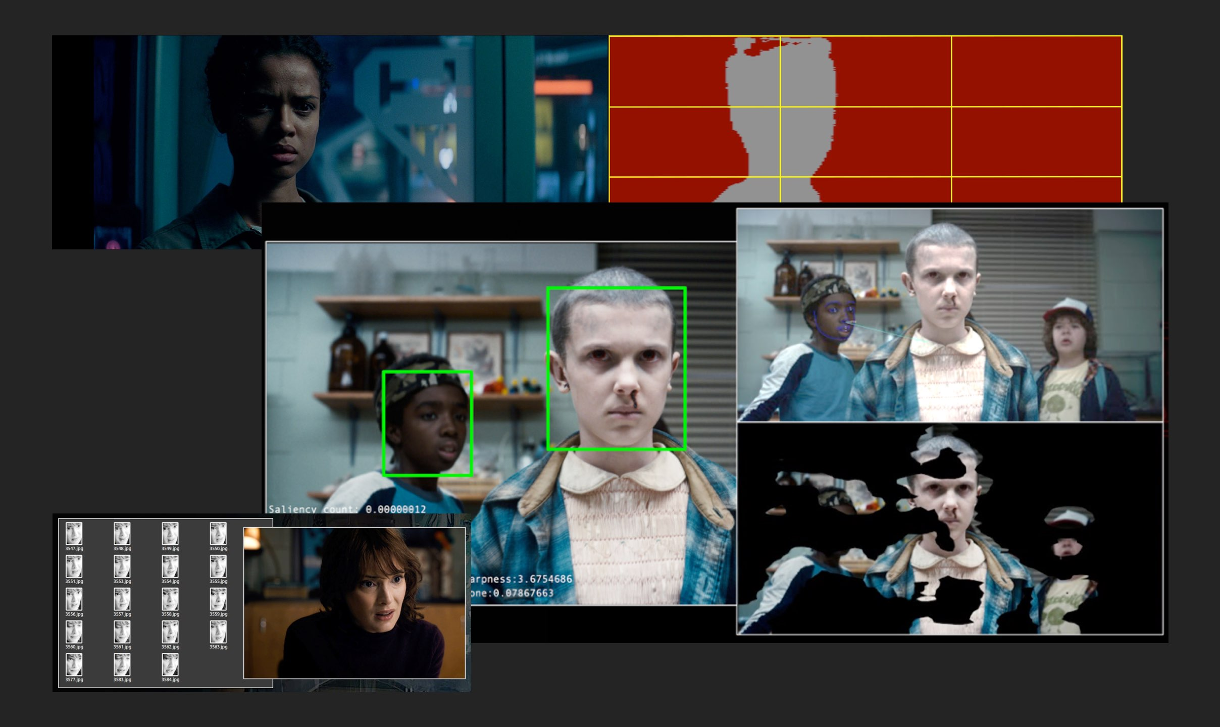 "Frames taken from the Netflix shows ""Stranger Things"" and ""The Cloverfield Paradox,"" analyzed with facial detection."