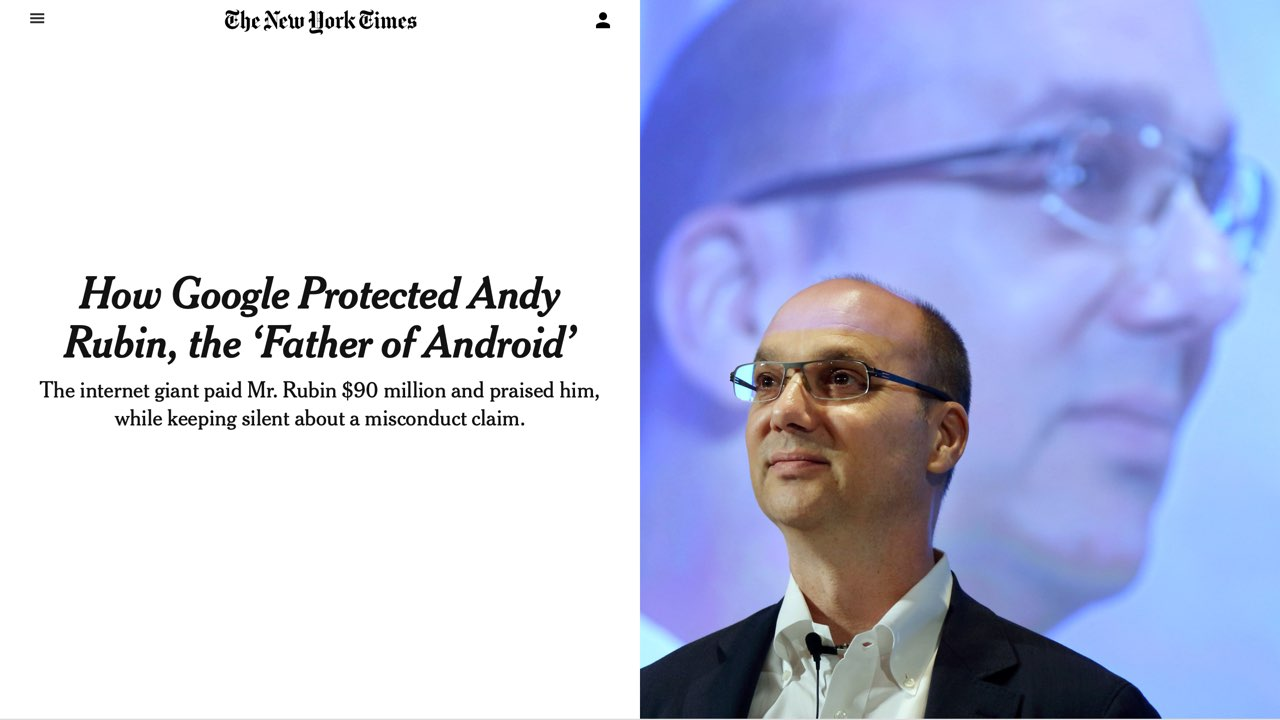 Screenshot of the New York Times article revealing Google's protection of executives who had been accused of sexual misconduct.