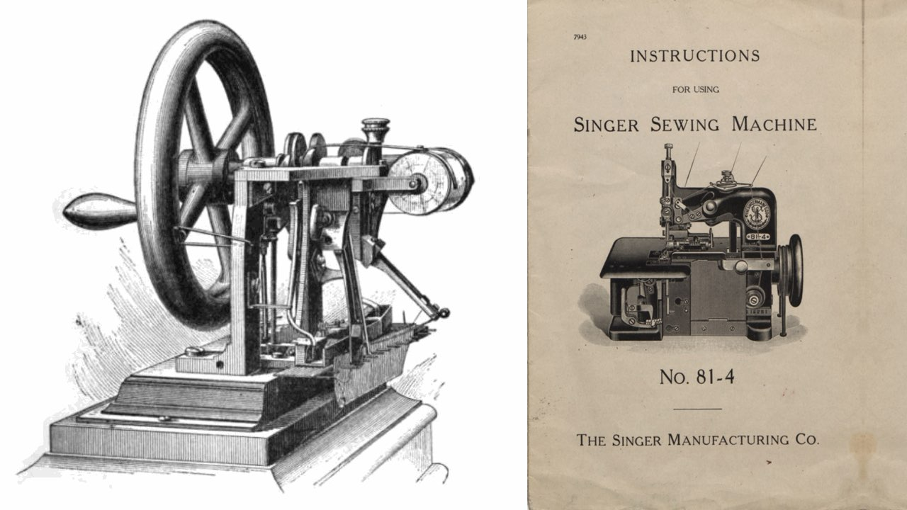 A yellowed instructional pamphlet for a Singer Sewing Machine.