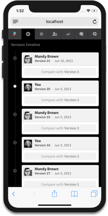 A history of all versions of an Editorially document, shown on a phone