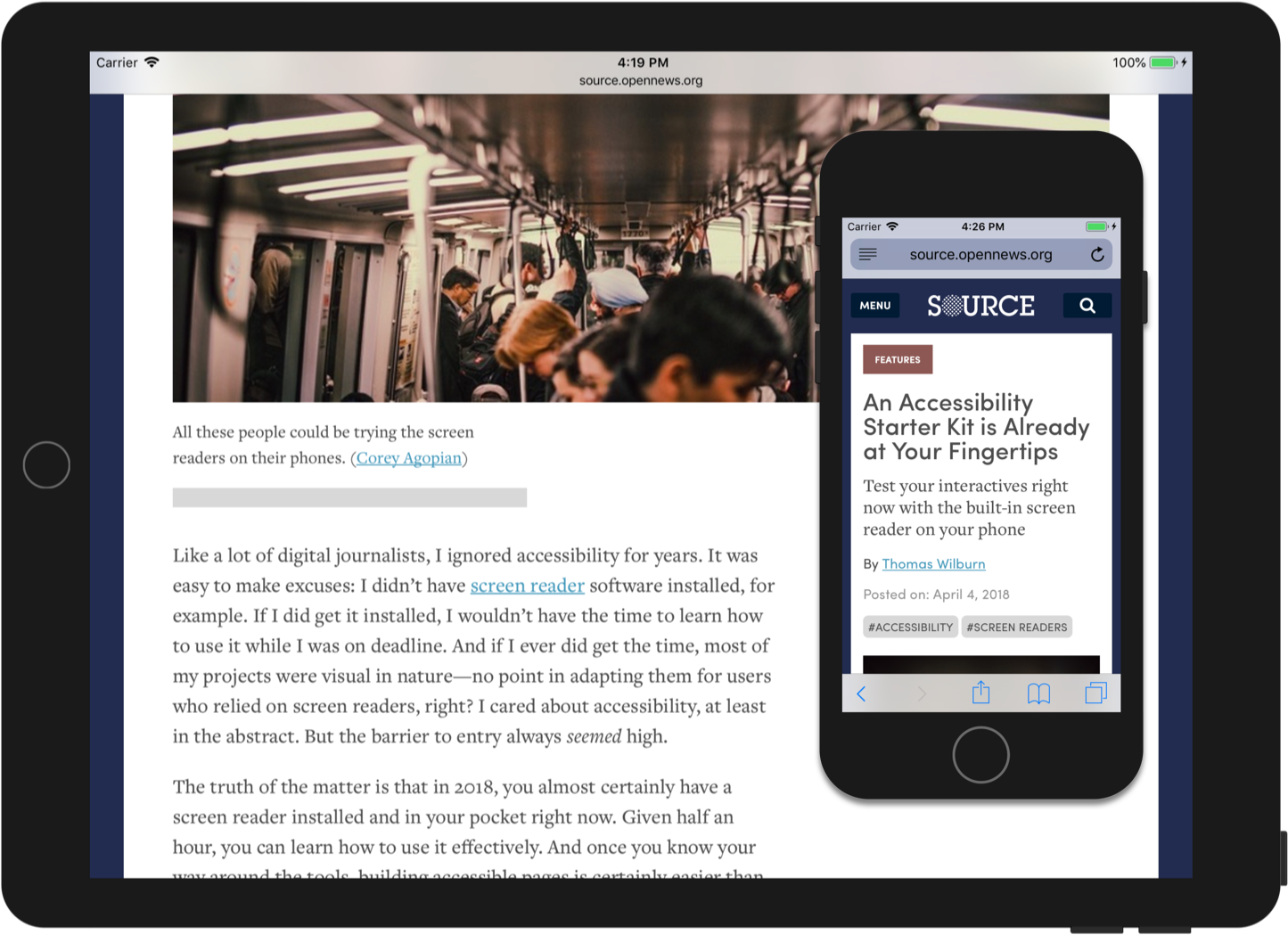 An article from the redesigned Source, as it appears on tablet and on a phone